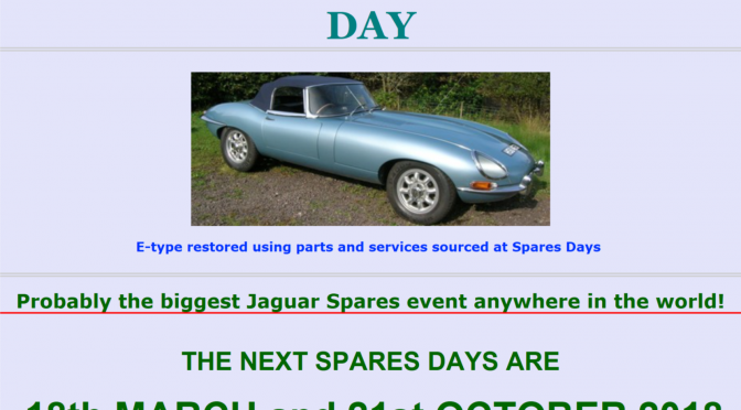 Jaguar Spares day …… I am looking for EARLY E TYPE PARTS